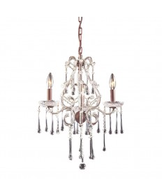 ELK Lighting 4011/3CL Opulence 3 Light Chandelier in Rust and Clear Crystal