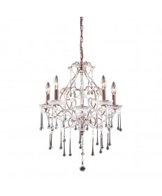 ELK Lighting 4012/5CL Opulence 5 Light Chandelier in Rust and Clear Crystal