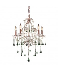 ELK Lighting 4012/5LM Opulence 5 Light Chandelier in Rust and Lime Crystal