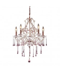 ELK Lighting 4012/5RS Opulence 5 Light Chandelier in Rust and Rose Crystal