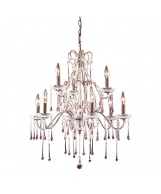 ELK Lighting 4013/6+3RS Opulence 9 Light Chandelier in Rust and Rose Crystal