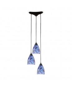 ELK Lighting 406-3BL Classico 3 Light Pendant in Dark Rust and Starlight Blue Glass