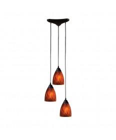 ELK Lighting 406-3ES Classico 3 Light Pendant in Dark Rust and Espresso Glass