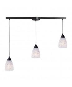 ELK Lighting 406-3L-SW Classico 3 Light Pendant in Dark Rust and Show White Glass