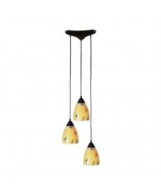 ELK Lighting 406-3YW Classico 3 Light Pendant in Dark Rust and Yellow Blaze Glass