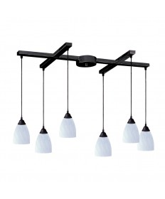 ELK Lighting 406-6WH Classico 6 Light Pendant in Dark Rust and Simply White Glass
