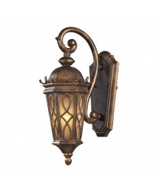 ELK Lighting 42000/1 Burlington Junction 1 Light Outdoor Sconce in Hazlenut Bronze and Amber Scavo Glass