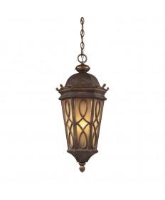 ELK Lighting 42003/3 Burlington Junction 3 Light Outdoor Pendant in Hazlenut Bronze and Amber Scavo Glass
