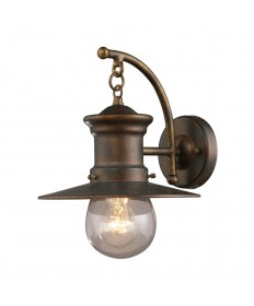 ELK Lighting 42006/1 Maritime 1 Light Wall Bracket in Hazlenut Bronze and Clear Seeded Glass