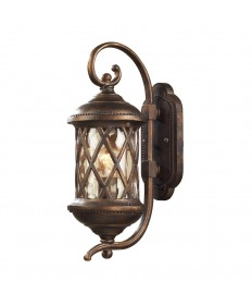 ELK Lighting 42030/1 Barrington Gate 1 Light Outdoor Sconce in Hazlenut Bronze and Designer Water Glass