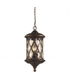 ELK Lighting 42033/3 Barrington Gate 3 Light Outdoor Pendant in Hazlenut Bronze and Designer Water Glass