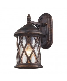 ELK Lighting 42035/1 Barrington Gate 1 Light Outdoor Sconce in Hazlenut Bronze and Designer Water Glass