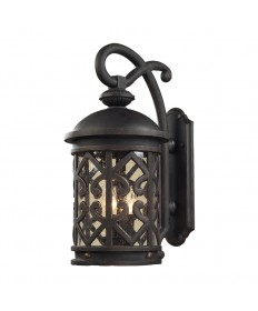 ELK Lighting 42061/2 Tuscany Coast 2 Light Outdoor Sconce in Weathered Charcoal and Clear Seeded Glass