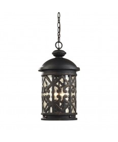 ELK Lighting 42063/3 Tuscany Coast 3 Light Outdoor Pendant in Weathered Charcoal and Clear Seeded Glass