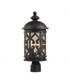 ELK Lighting 42064/2 Tuscany Coast 2 Light Post Light in Weathered Charcoal and Clear Seeded Glass
