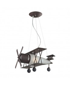 ELK Lighting 5084/1 Biplane Fighter Novelty Lighting 1 Light Pendant in Satin Nickel