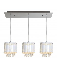 Access Lighting 50971-CH/BL Kalista 3 Light Bar Pendant with Crystal Drops