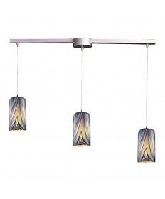 ELK Lighting 544-3L-MO 3 Light Pendant in Satin Nickel and Molten Ocean Glass