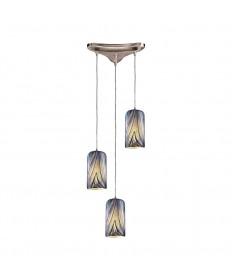 ELK Lighting 544-3MO 3 Light Pendant in Satin Nickel and Molten Ocean Glass