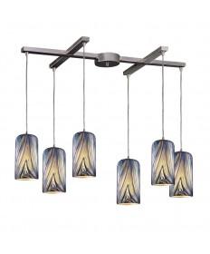 ELK Lighting 544-6MO 6 Light Pendant in Satin Nickel and Molten Ocean Glass