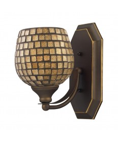 ELK Lighting 570-1B-GLD 1 Light Vanity in Aged Bronze and Gold Mosaic Glass