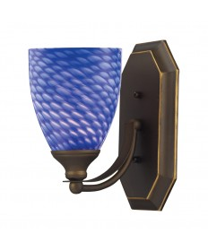 ELK Lighting 570-1B-S 1 Light Vanity in Aged Bronze and Sapphire Glass