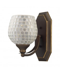 ELK Lighting 570-1B-SLV 1 Light Vanity in Aged Bronze and Silver Mosaic Glass