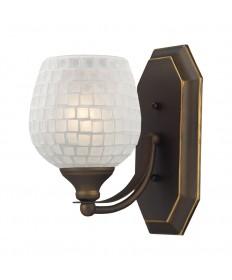 ELK Lighting 570-1B-WHT 1 Light Vanity in Aged Bronze and White Mosaic Glass