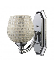 ELK Lighting 570-1C-SLV 1 Light Vanity in Polished Chrome and Silver Mosaic Glass
