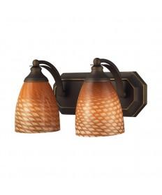 ELK Lighting 570-2B-C 2 Light Vanity in Aged Bronze and Coco Glass