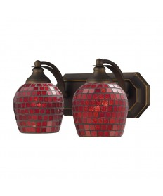 ELK Lighting 570-2B-CPR 2 Light Vanity in Aged Bronze and Copper Mosaic Glass