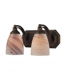 ELK Lighting 570-2B-CR 2 Light Vanity in Aged Bronze and Creme Glass