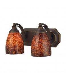 ELK Lighting 570-2B-ES 2 Light Vanity in Aged Bronze and Espresso Glass