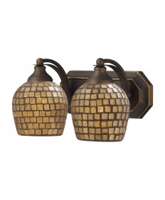ELK Lighting 570-2B-GLD 2 Light Vanity in Aged Bronze and Gold Mosaic Glass