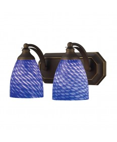 ELK Lighting 570-2B-S 2 Light Vanity in Aged Bronze and Sapphire Glass