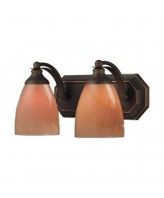 ELK Lighting 570-2B-SY 2 Light Vanity in Aged Bronze and Sandy Glass