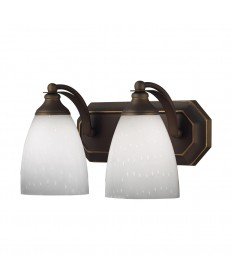 ELK Lighting 570-2B-WH 2 Light Vanity in Aged Bronze and Simply White Glass