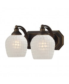 ELK Lighting 570-2B-WHT 2 Light Vanity in Aged Bronze and White Mosaic Glass