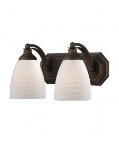 ELK Lighting 570-2B-WS 2 Light Vanity in Aged Bronze and White Swirl Glass