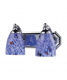 ELK Lighting 570-2C-BL 2 Light Vanity in Polished Chrome and Starburst Blue Glass