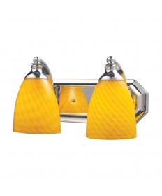 ELK Lighting 570-2C-CN 2 Light Vanity in Polished Chrome and Canary Glass
