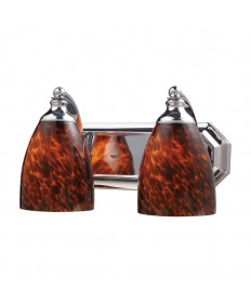 ELK Lighting 570-2C-ES 2 Light Vanity in Polished Chrome and Espresso Glass
