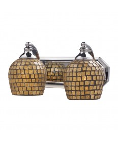 ELK Lighting 570-2C-GLD 2 Light Vanity in Polished Chrome and Gold Mosaic Glass