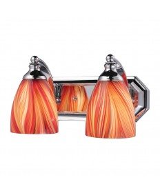 ELK Lighting 570-2C-M 2 Light Vanity in Polished Chrome and Multi Glass
