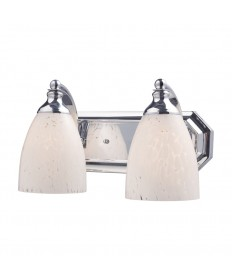 ELK Lighting 570-2C-SW 2 Light Vanity in Polished Chrome and Snow White Glass