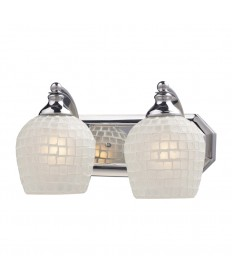 ELK Lighting 570-2C-WHT 2 Light Vanity in Polished Chrome and White Mosaic Glass