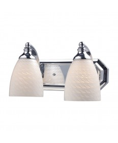ELK Lighting 570-2C-WS 2 Light Vanity in Polished Chrome and White Swirl Glass