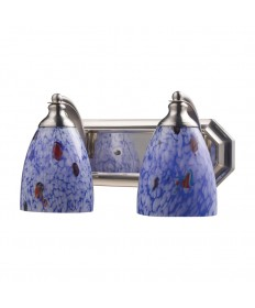 ELK Lighting 570-2N-BL 2 Light Vanity in Satin Nickel and Starburst Blue Glass