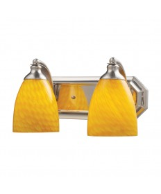 ELK Lighting 570-2N-CN 2 Light Vanity in Satin Nickel and Canary Glass