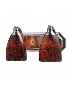 ELK Lighting 570-2N-ES 2 Light Vanity in Satin Nickel and Espresso Glass